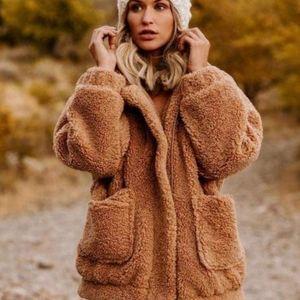 New Teddy Bear Zip up warm faux fur Jacket